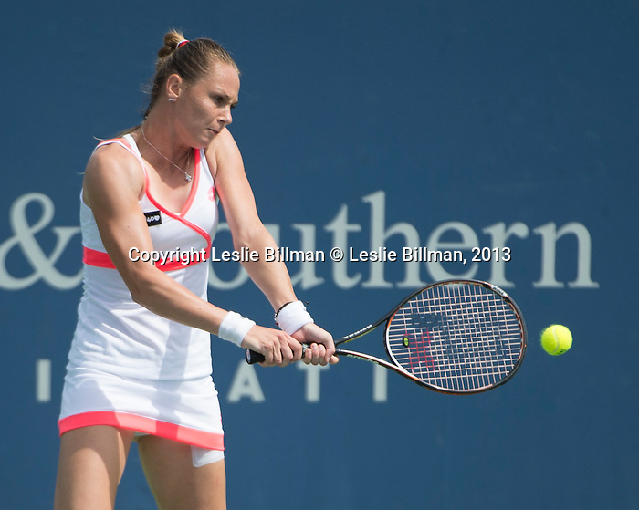 Magdalena Rybarikova (SVK) loses to Victoria Azarenka (BLR), 6-3, 6-4, at the Western & Southern Open in Mason, OH on August 15, 2013.