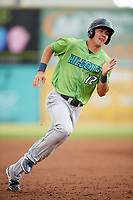 Lynchburg Hillcats shortstop Luke Wakamatsu (12) runs the bases during a game against the Salem Red Sox on May 10, 2018 at Haley Toyota Field in Salem, Virginia.  Lynchburg defeated Salem 11-5.  (Mike Janes/Four Seam Images)