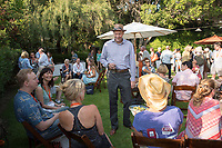 Parents meet with Jonathan Veitch and Oxy staff at the President's Reception, Mitchell Garden. Incoming first-years and their families are welcomed by O-Team members and the community at the start of Occidental College's Fall Orientation for the class of 2021, Aug. 24, 2017.<br /> (Photo by Marc Campos, Occidental College Photographer)