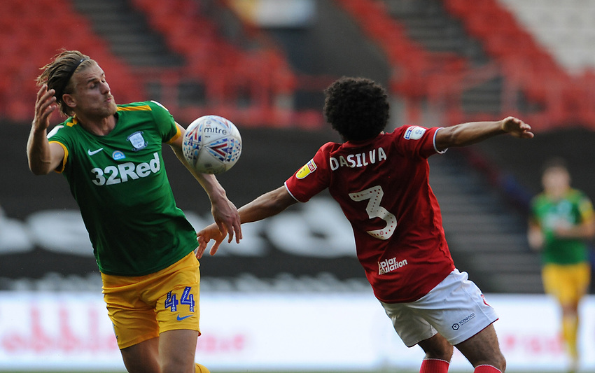 Preston North End's Brad Potts battles with Bristol City's Jay Dasilva<br /> <br /> Photographer Ian Cook/CameraSport<br /> <br /> The EFL Sky Bet Championship - Bristol City v Preston North End - Wednesday July 22nd 2020 - Ashton Gate Stadium - Bristol <br /> <br /> World Copyright © 2020 CameraSport. All rights reserved. 43 Linden Ave. Countesthorpe. Leicester. England. LE8 5PG - Tel: +44 (0) 116 277 4147 - admin@camerasport.com - www.camerasport.com