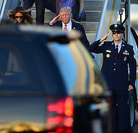 www.acepixs.com<br /> <br /> February 10 2017, West Palm Beach, FL<br /> <br /> President Donald Trump and his wife Melania Trump arrive on Air Force One at the Palm Beach International Airport as they prepare to spend part of the weekend together at Mar-a-Lago resort on February 10, 2017 in West Palm Beach, Florida.<br /> <br /> By Line: Solar/ACE Pictures<br /> <br /> ACE Pictures Inc<br /> Tel: 6467670430<br /> Email: info@acepixs.com<br /> www.acepixs.com