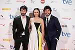Actress Aura Garrido and actor Javier Pereira (R) attends Jose Maria Forque Awards photocall at Municipal Congress Palace in Madrid, Spain. January 13, 2014. (ALTERPHOTOS/Victor Blanco)