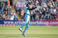 Jofra Archer (England) celebrates the wicket of Soumya Sarkar (Bangladesh) during England vs Bangladesh, ICC World Cup Cricket at Sophia Gardens Cardiff on 8th June 2019