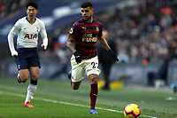 DeAndre Yedlin of Newcastle United and Son Heung-Min of Tottenham Hotspur during Tottenham Hotspur vs Newcastle United, Premier League Football at Wembley Stadium on 2nd February 2019