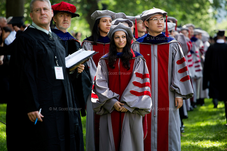 Graduating students line up to receive their diplomas at the 2012 MIT Commencement on June 8, 2012, in Cambridge, Massachusetts, USA...Photo by M. Scott Brauer