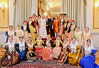 Pictured: Prince Charles, the Duchess of Cornwall with Prokopis Pavlopoulos and wife Vlasia pose with women in traditional folk outfits after the official state dinner at the Presidential Mansion in Athens, Greece. Wednesday 09 May 2018 <br /> Re: Official visit of HRH Prnce Charles and his wife the Duchess of Cornwall to Athens, Greece.