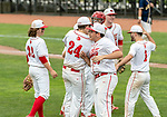 MIDDLETOWN, CT. 06 June 2018-060618BS583 Wolcott's Ethan Gillotti (24) celebrates their win with teammate Wolcott's Tyler Brzankalski  (25) during the CIAC Tournament Class M Semi-Final baseball game between Ledyard and Wolcott at Palmer Field on Wednesday afternoon. Wolcott beat Ledyard 9-4 and advances to the Class M final this weekend. Bill Shettle Republican-American