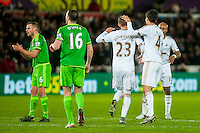 Gylfi Sigurdsson of Swansea celebrates after scoring from the penalty spot during the Barclays Premier League match between Swansea City and Sunderland played at the Liberty Stadium, Swansea  on  January the 13th 2016
