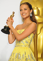 28 February 2016 - Hollywood, California - Alicia Vikander. 88th Annual Academy Awards presented by the Academy of Motion Picture Arts and Sciences held at Hollywood & Highland Center. Photo Credit: Byron Purvis/AdMedia