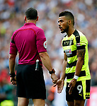 Elias Kachunga of Huddersfield Town appeals to the referee during the SkyBet Championship Play Off Final match at the Wembley Stadium, England. Picture date: May 29th, 2017.Picture credit should read: Matt McNulty/Sportimage