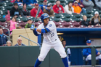 Moises Sierra (25) of the Omaha Storm Chasers at bat against the Memphis Redbirds in Pacific Coast League action at Werner Park on April 24, 2015 in Papillion, Nebraska.  (Stephen Smith/Four Seam Images)