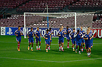 Spanje, Barcelona, 20 oktober 2014<br /> Seizoen 2014-2015<br /> Champions League<br /> Training Ajax in Camp Nou<br /> De selectie van Ajax loopt warm in stadion Nou Camp