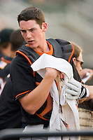 Catcher Michael Ohlman #19 of the Delmarva Shorebirds at Fieldcrest Cannon Stadium May 14, 2010, in Kannapolis, North Carolina.  Photo by Brian Westerholt / Four Seam Images