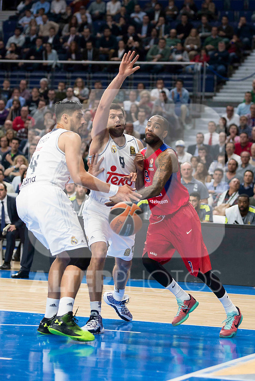 Real Madrid's player Gustavo Ayon and Felipe Reyes and CSKA Moscu's player Jackson during the match between Real Madrid and CSKA Moscu of Turkish Airlines Euroleague at Barclaycard Center in Madrid, March 02, 2016. (ALTERPHOTOS/BorjaB.Hojas) during the match between Real Madrid and CSKA Moscu of Turkish Airlines Euroleague at Barclaycard Center in Madrid, March 02, 2016. (ALTERPHOTOS/BorjaB.Hojas)