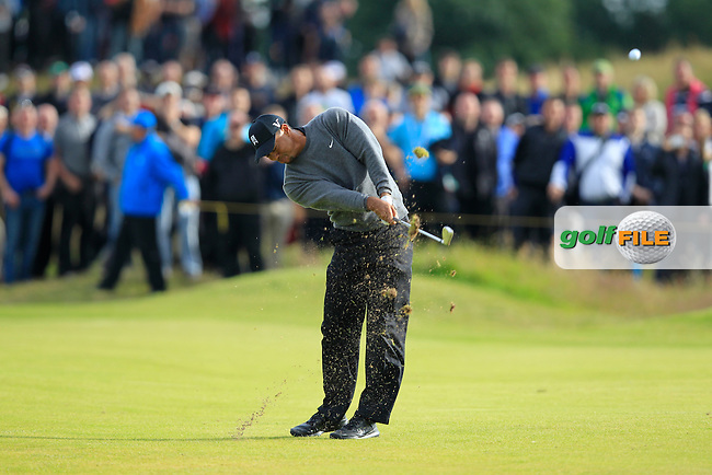 Tiger Woods (USA) plays his 2nd shot on the 14th hole during Friday's Round 2 of the 141st Open Championship at Royal Lytham & St.Annes, England 20th July 2012 (Photo Eoin Clarke/www.golffile.ie)