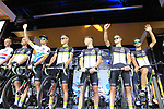 Team Dimension Data on stage at the Team Presentation in Burgplatz Dusseldorf before the 104th edition of the Tour de France 2017, Dusseldorf, Germany. 29th June 2017.<br /> Picture: Eoin Clarke | Cyclefile<br /> <br /> <br /> All photos usage must carry mandatory copyright credit (&copy; Cyclefile | Eoin Clarke)