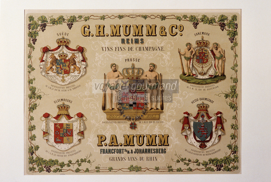 Europe/France/Champagne-Ardenne/51/Marne/Epernay: Musée minicipal - Affichette champagne Mumm - 1900 - Mumm fournisseur des monarchies d'Europe