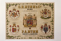Europe/France/Champagne-Ardenne/51/Marne/Epernay : Musée minicipal - Affichette champagne Mumm - 1900 - Mumm fournisseur des monarchies d'Europe