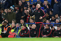 Manchester United Caretaker Coach, Mike Phelan, issues some instructions from the touchline during Chelsea vs Manchester United, Emirates FA Cup Football at Stamford Bridge on 18th February 2019