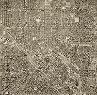 historical aerial photo map of Fresno, California, 1946