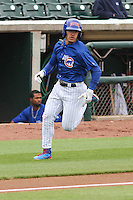 Iowa Cubs shortstop Javier Baez (9) rounds third and heads for home during a Pacific Coast League game against the Colorado Springs Sky Sox on May 11th, 2015 at Principal Park in Des Moines, Iowa.  Colorado Springs defeated Iowa 13-7.  (Brad Krause/Four Seam Images)