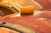 A detail of a barrel with the silicone bung hole stopper with some wine seeping out Chateau Potensac Cru Bourgeois Ordonnac Medoc Bordeaux Gironde Aquitaine France