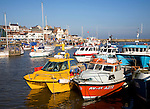 Boats in the harbour at Bridlington, Yorkshire, England