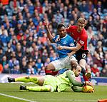 05.05.2018 Rangers v Kilmarnock: Jamie MacDonald saves from Alfredo Morelos