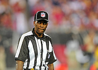 Dec 6, 2009; Glendale, AZ, USA; NFL referee Wayne Mackie during the game between the Arizona Cardinals against the Minnesota Vikings at University of Phoenix Stadium. The Cardinals defeated the Vikings 30-17. Mandatory Credit: Mark J. Rebilas-