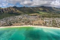 An aerial view of Waimanalo Beach and its surrounding neighborhood backed by the Ko'olau Mountains, O'ahu.