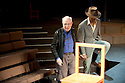 Peter Brook with actor William Nadylam on the set of The Suit  by Can Themba, adapted, directed and music  by Peter Brook , Marie-Helene Estienne  and Franck Krwczykas Philemon. Opens at The Young Vic Theatre on 23/5/12 .CREDIT Geraint Lewis