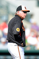 Baltimore Orioles manager Buck Showalter #26 walks to the mound during a Spring Training game against the Toronto Blue Jays at Ed Smith Stadium on March 7, 2013 in Sarasota, Florida.  Balitmore defeated Toronto 11-10.  (Mike Janes/Four Seam Images)