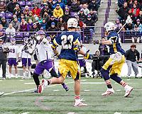 University at Albany Men's Lacrosse defeats Drexel 18-5 on Feb. 24 at Casey Stadium.  Tehoka Nanticoke (#1) shoots. (Photo by Bruce Dudek / Cal Sport Media/Eclipse Sportswire)