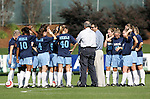 UNC head coach Anson Dorrance (6th from right) talks with his team before the game on Sunday, November 6th, 2005 at SAS Stadium in Cary, North Carolina. The University of North Carolina Tarheels defeated the Virginia Cavaliers 4-1 in the Championship Game of the Atlantic Coast Conference Women's Soccer Tournament.
