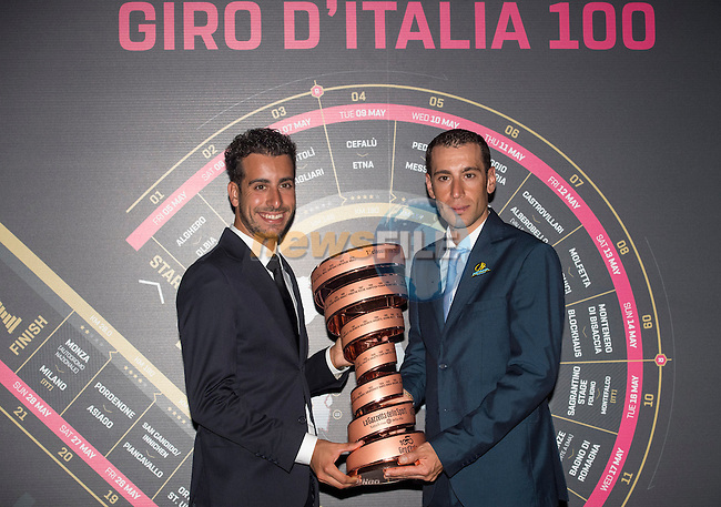 Fabio Aru and defending Champion Vincenzo Nibali (ITA) holding the trophy at the 100th edition Giro d`Italia 2017 route presentation held at the Ice Palace in Milan, 25th October 2016.<br /> Picture: ANSA/Claudio Peri | Newsfile<br /> <br /> <br /> All photos usage must carry mandatory copyright credit (&copy; Newsfile | ANSA/Claudio Peri)
