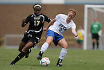 30 August 2009: Duke's Rebecca Allen (2) and Central Florida's Nikki Moore (17). The Duke University Blue Devils lost 3-2 to the University of Central Florida Knights at Fetzer Field in Chapel Hill, North Carolina in an NCAA Division I Women's college soccer game.