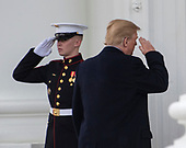 United States President Donald J. Trump salutes the Marine Guard as he and and First lady Melania Trump return to the residence after accepting the White House Christmas tree on the North Driveway of the White House in Washington, DC on Monday, November 19, 2018. The 2018 White House Christmas Tree will arrive as in previous years by horse and carriage on the North Portico. The tree will be displayed in the Blue Room of the White House. <br /> Credit: Ron Sachs / CNP<br /> (RESTRICTION: NO New York or New Jersey Newspapers or newspapers within a 75 mile radius of New York City)