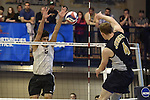 27 APR 2014: Luis Vega (5) of Springfield College blocks against Juniata College during the Division III Men's Volleyball Championship held at the Kennedy Sports Center in Huntingdon, PA. Springfield defeated Juniata 3-0 to win the national title.  Mark Selders/NCAA Photos