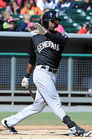 Jackson Generals center fielder Denny Almonte #16 swings at a pitch during a game between the Jackson Generals and the Tennessee Smokies at Smokies Park, Kodak, Tennessee April 11, 2012. The Generals won 2-1  (Tony Farlow/Four Seam Images)..