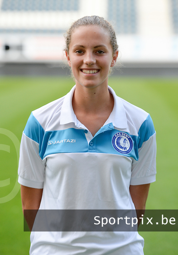 20150821 - GENT, BELGIUM: Gent's Chloe Vande Velde pictured during a press conference about the start of the new Super League season of the women's team KAA Gent Ladies , Friday 21 August 2015 , in Gent. PHOTO DAVID CATRY