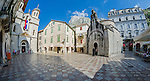 Fisheye taken in old town with St. Lucas's & St. Nicholas church in Kotor, Montenegro