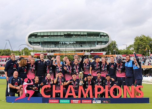 July 23rd 2017, Lords Cricket Ground, London, England; The ICC Women's World Cup Final; England Women versus India Women; England Captain Heather Knight and her team and backroom staff pose with the Women's World cup Trophy