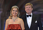 "CROWN PRINCE WILLEM-ALEXANDER AND CROWN PRINCESS MAXIMA.attend the gala farewell dinner for Queen Beatrix.at the Rijksmuseum in Amsterdam, The Netherlands_April 29, 2013..Crown Prince Willem-Alexander and Crown Princess Maxima will be proclaimed King and Queen  of The Netherlands on the abdication of Queen Beatrix on 30th April 2013..Mandatory Credit Photos: ©Utrecht/NEWSPIX INTERNATIONAL..**ALL FEES PAYABLE TO: ""NEWSPIX INTERNATIONAL""**..PHOTO CREDIT MANDATORY!!: NEWSPIX INTERNATIONAL(Failure to credit will incur a surcharge of 100% of reproduction fees)..IMMEDIATE CONFIRMATION OF USAGE REQUIRED:.Newspix International, 31 Chinnery Hill, Bishop's Stortford, ENGLAND CM23 3PS.Tel:+441279 324672  ; Fax: +441279656877.Mobile:  0777568 1153.e-mail: info@newspixinternational.co.uk"