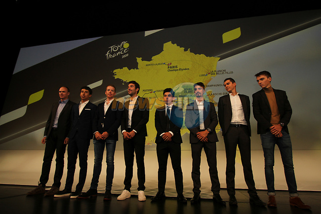 Top riders on stage at the Tour de France 2020 route presentation held in the Palais des Congrès de Paris (Porte Maillot), Paris, France. 15th October 2019.<br /> Picture: ASO/Thomas Colpaert | Cyclefile<br /> <br /> All photos usage must carry mandatory copyright credit (© Cyclefile | ASO/Thomas Colpaert)