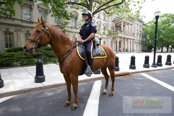 Mounted Policeman at the New Jersey Legislative State House, Trenton, New Jersey