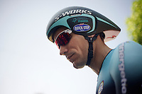 Gert Steegmans (BEL) concentrated before his time trial<br /> <br /> Tour de France 2013<br /> stage 11: iTT Avranches - Mont Saint-Michel <br /> 33km