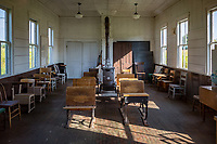 The Dells Mill School in Agusta Wisconsin is a one room school dating back to 1866 has been moved from its original location on Dells Mill Pond a half mile away.