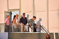 MIAMI BEACH, FL - APRIL 07: (EXCLUSIVE COVERAGE) Billionaire and former Mayor of New York Michael Bloomberg is seen leaving horse jumping with daughters Emma Bloomberg, Georgina Bloomberg along with her son Jasper Michael Brown Quintana and her boyfriend Carlos Arruza Jr at the Longines Global Champions Tour stop day 3 in Miami Beach on April 7, 2018 in Miami Beach, Florida.<br /> People:  Michael Bloomberg, Emma Bloomberg, Georgina Bloomberg, Jasper Quintana, Carlos Arruza Jr <br /> CAP/MPI122<br /> &copy;MPI122/Capital Pictures