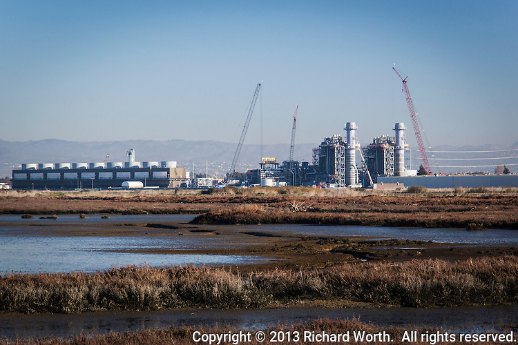 The brand new,  nearly complete, Russell City Energy Center will be a natural gas-fired electrical power plant that is at the very edge of a wetland wildlife refuge, part of the Hayward Area Recreational District.