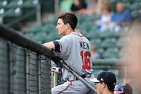 Center fielder Kyle Wren (15) of the Rome Braves before a game against the Greenville Drive on Thursday, August 22, 2013, at Fluor Field at the West End in Greenville, South Carolina. Rome won, 7-3. Wren was an eighth-round pick out of Georgia Tech by the Atlanta Braves in the 2013 First-Year Player Draft. (Tom Priddy/Four Seam Images)